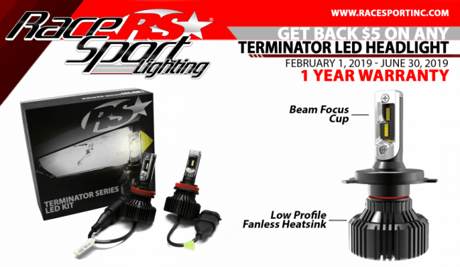 Race Sport $5 Card on Terminator LED Headlight