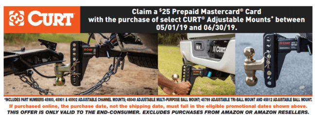 CURT $25 Back on Adjustable Mounts