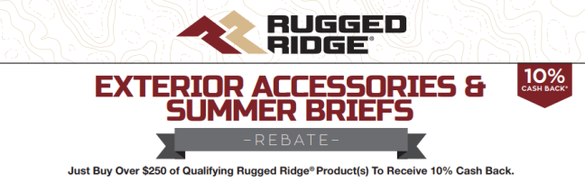 Rugged Ridge: Get 10% Back on Exterior Accessories and Summer Briefs