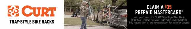 Claim Your Prepaid Mastercard with purchase of CURT Tray-Style Bike Rack