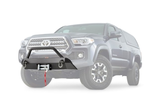 WARN (100044): Semi-Hidden Winch Mount Front Bumper Kit For `16-`20 Toyota Tacoma