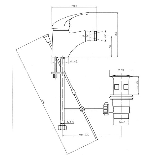 Baterie stativa pentru bideu Ferro, Titania Iris
