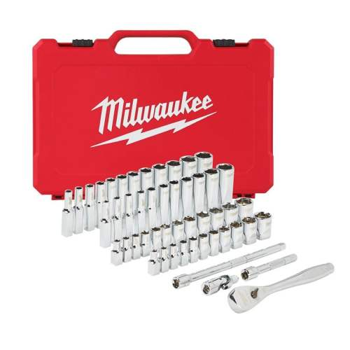 Antrenor cu clichet Milwaukee + set de chei tubulare sisteme metric și imperial ( 50 buc )