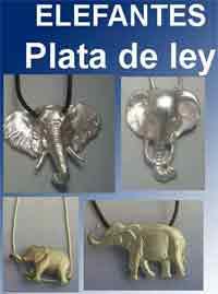 Elefantes amuletos de plata