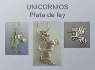 unicornios colgantes de plata
