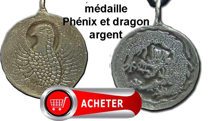 phénix et dragon amulette pendentif medaille argent