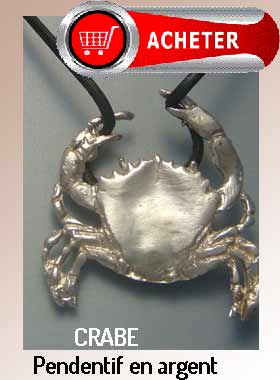 crabe pendentif argent bijoux signification symbole