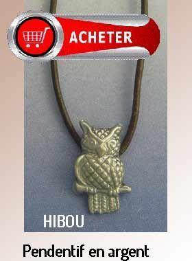 hibou pendentif argent bijoux signification symbole