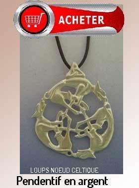 loups noeud celtique pendentif amulette argent signification symbole