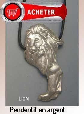 lion pendentif argent bijoux signification symbole