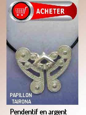 Papillon tairona pendentif bijoux argent signfiication