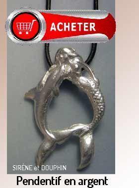 sirène et douphin pendentif argent bijoux signification symbole
