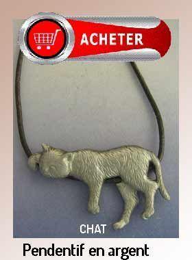 chat pendentif argent bijoux signification symbole bonne chance
