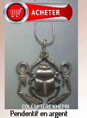 coléoptère scarabée Khépri -Isis noeud pendentif argent dieu Egypte signification symbole