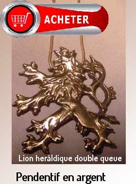 lion heráldique trois queues pendentif argent bijoux signification symbole
