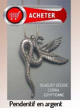 serpent cobra pendentif déesse egypte argent signification symbole
