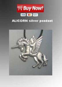alicorn silver pendant necklace