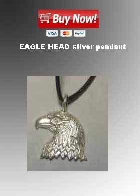eagle head silver pendant necklace