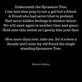 Underneath the Sycamore Tree.I one last time pray to not a god but a friend.A friend who had never tried to pretend.Had never hidden feelings in sinister intent.We will meet again in ano