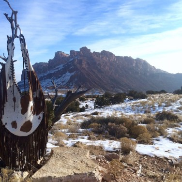 Cow Hide Teardrop Bag and Snowy Landscape