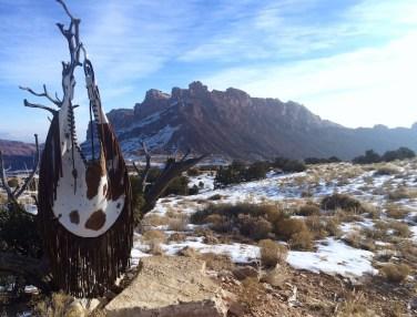 Cow Hide Teardrop Bag and Snowy Landscape