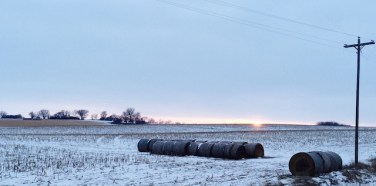 Hay & Snow Nebraska Sunset