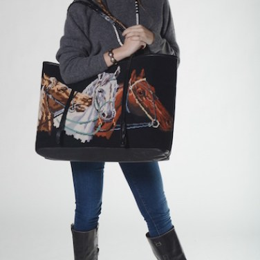 Emily & 3 Horse Head Needlepoint Blk