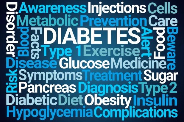 Diabetes Word Cloud on Blue Background