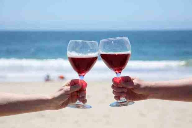 Wine at the beach.