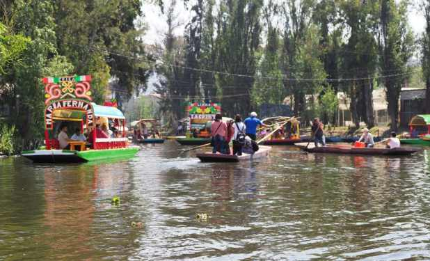 Several colored boats with tourists and gondoliers at exotic Floating Gardens in Mexican city with clear blue sky in warm sunny winter day