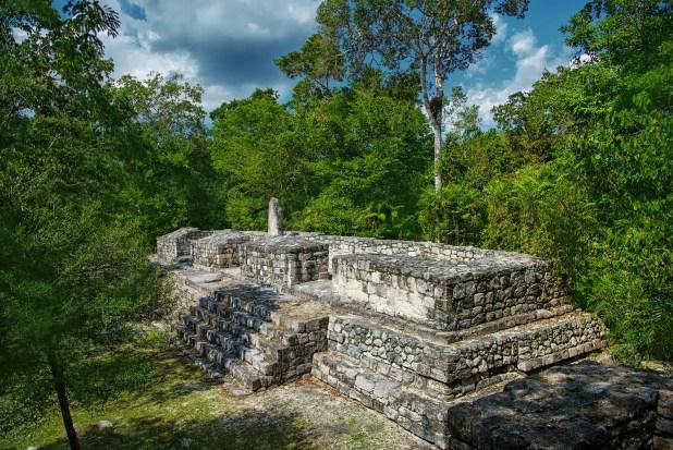 The ruins of the city of Calakmul. Maya Pyramid.