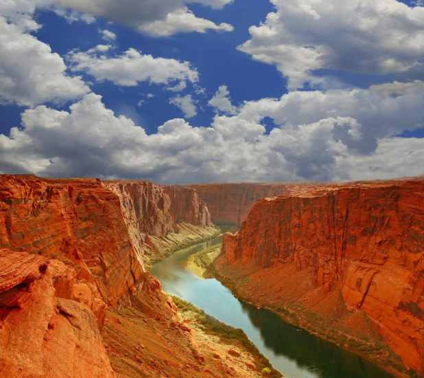 Grand Canyon Mouth in Paige Arizona With Cloudy Sky