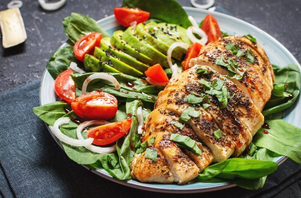Grilled chicken breast and avocado salad