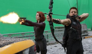 """Courtesy of Marvel Studios/Zade Rosenthal Scarlett Johansson, left, as Black Widow and Jeremy Renner, as Hawkeye in a scene from """"The Avengers."""" The green screen work was done at Albuquerque Studios. agomez@abqjournal.com Tue May 01 12:34:51 -0600 2012 1335897265 FILENAME: 130159.jpg"""