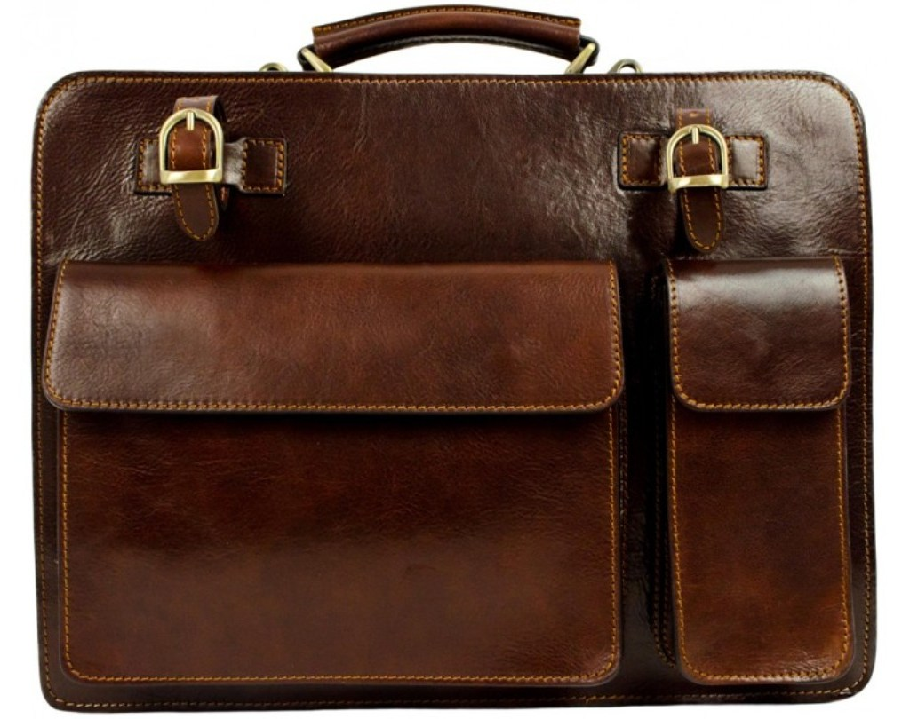 1e2e7e4345bb BROWN GENUINE LEATHER BRIEFCASE WORK BAG - THE PROPHET