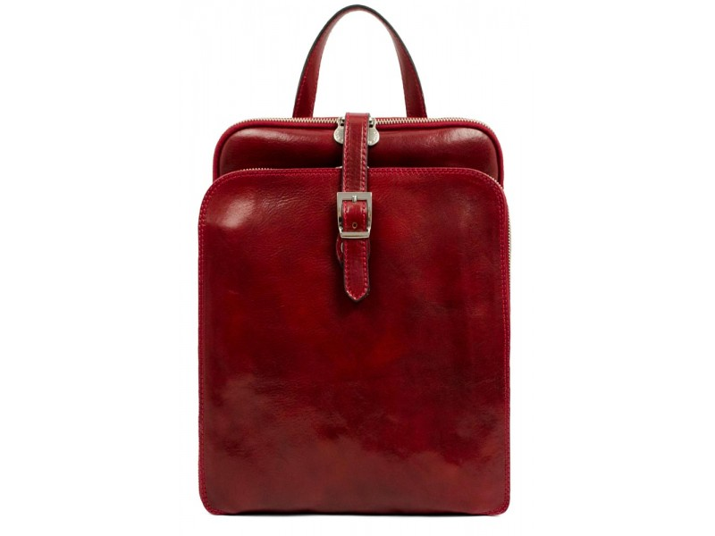 WOMEN'S RED CONVERTIBLE LEATHER BACKPACK - CLARISSA