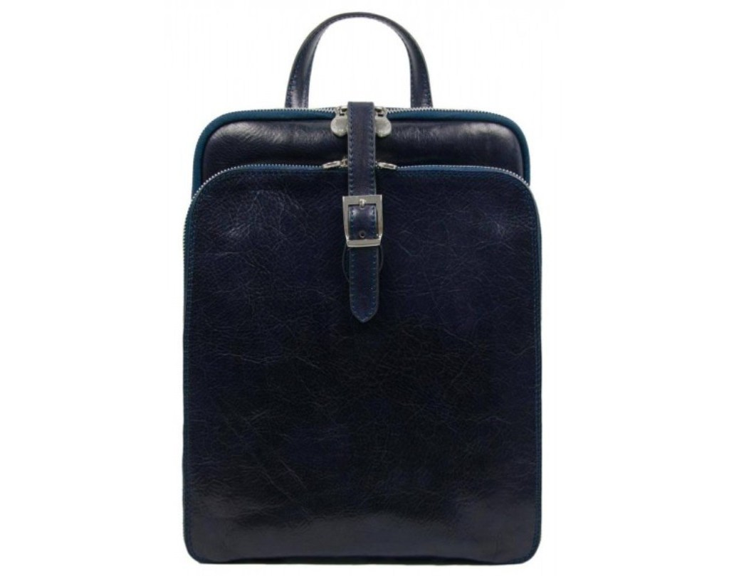 WOMENS BLUE LEATHER BACKPACK - CLARISSA
