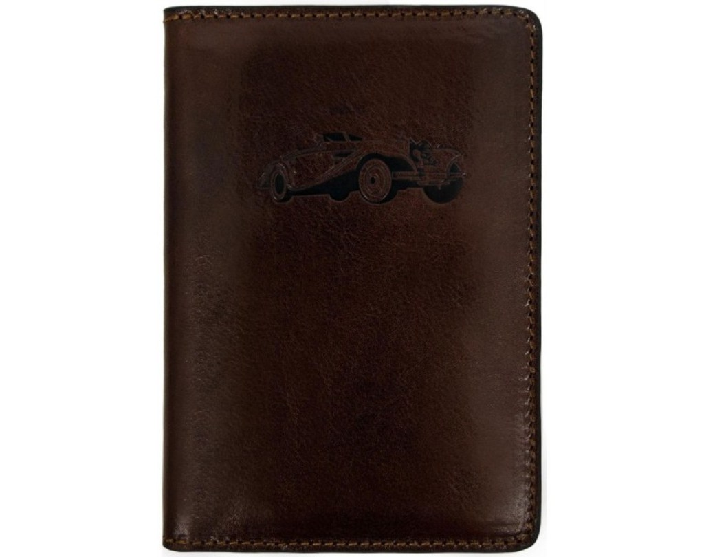 BROWN LEATHER CAR DOCUMENTS HOLDER - SELF-RELIANCE