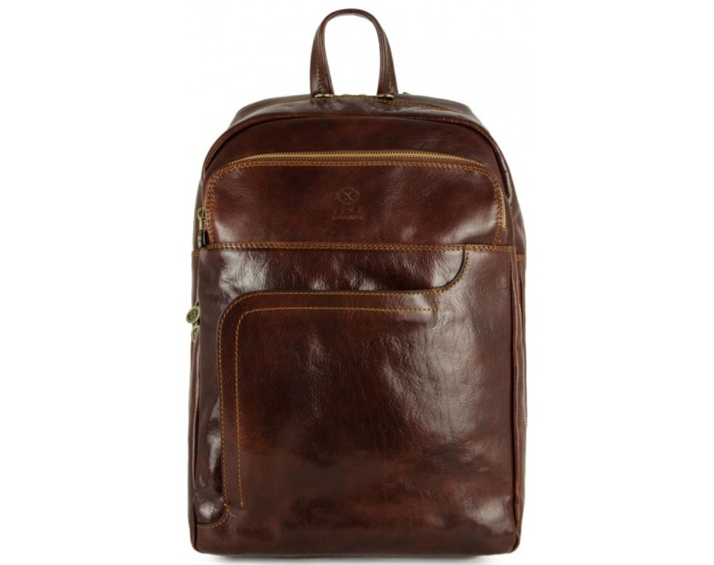 DARK BROWN CALFSKIN LEATHER BACKPACK - L.A. CONFIDENTIAL