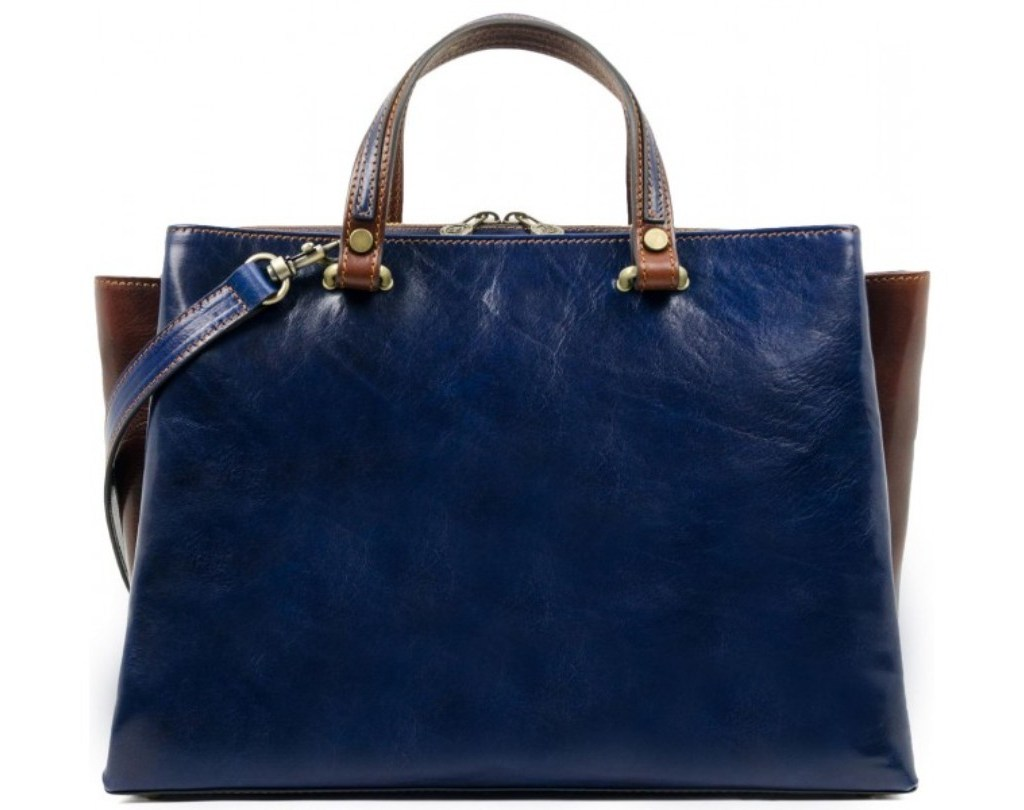 BLUE LEATHER TOTE BAG SHOULDER BAG FOR WOMEN – THE SCARLET LETTER