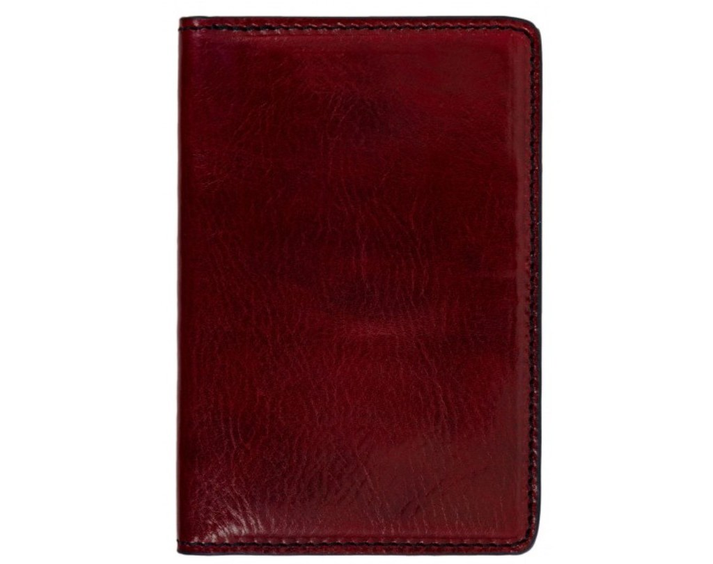RED SMALL LEATHER PASSPORT HOLDER - GULLIVER'S TRAVELS
