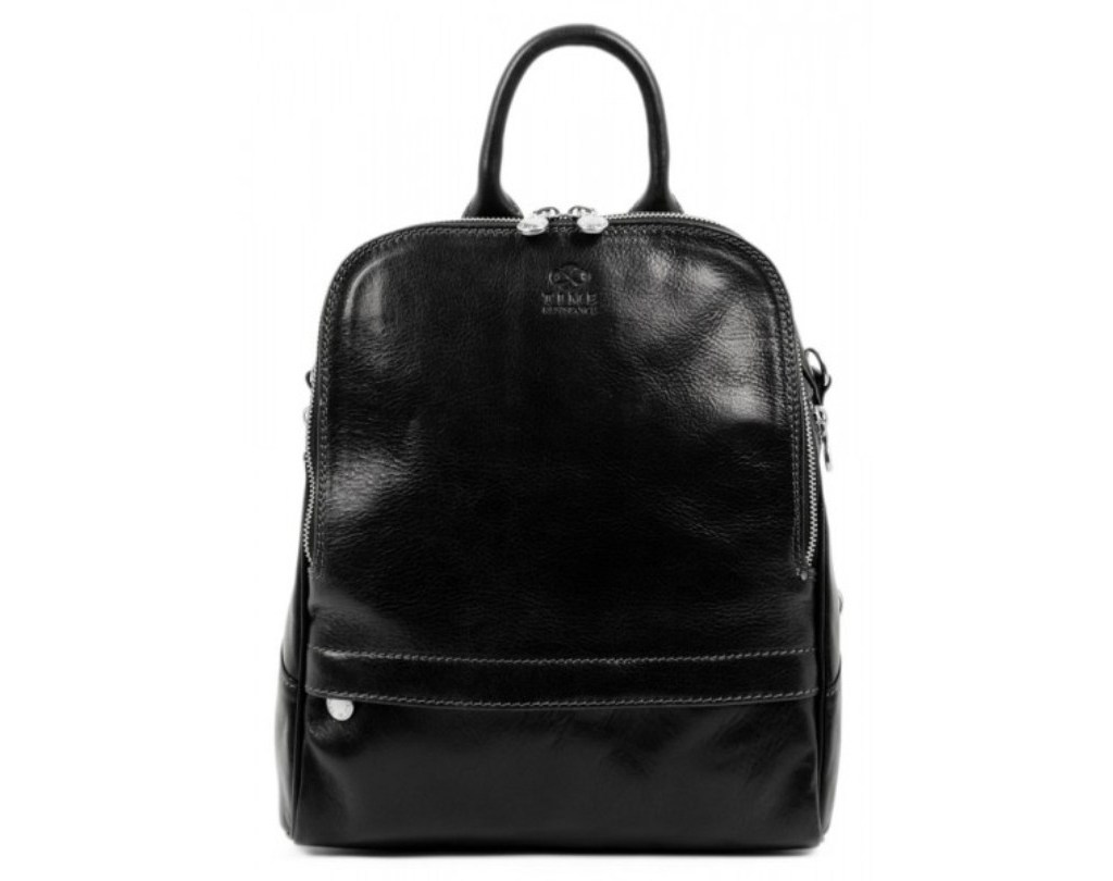 WOMEN'S BLACK LEATHER BACKPACK CONVERTIBLE BAG - MIDDLEMARCH
