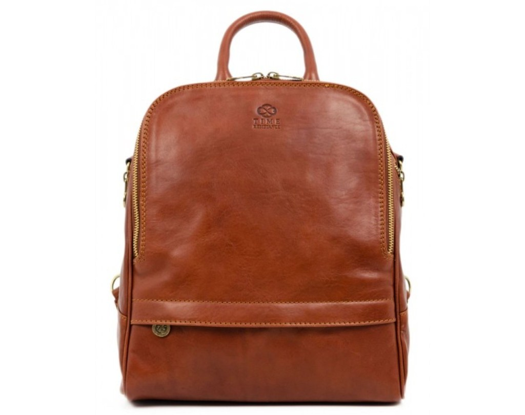 WOMEN'S BROWN LEATHER BACKPACK CONVERTIBLE BAG - MIDDLEMARCH