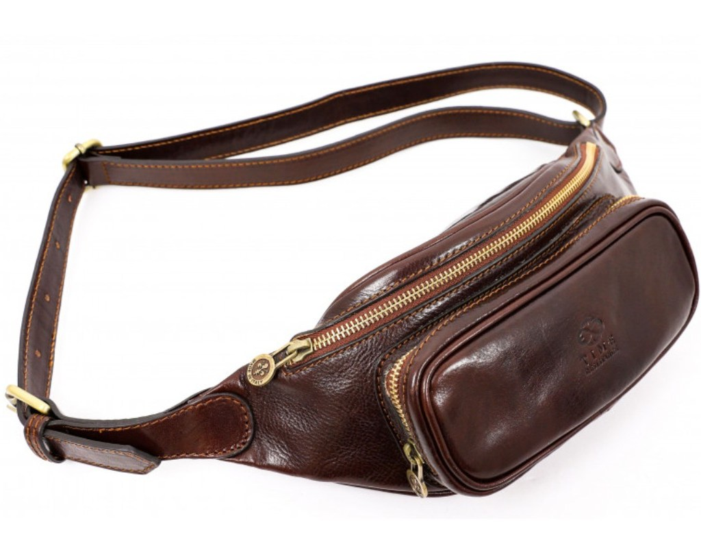 DARK BROWN LEATHER FANNY PACK BELLY BAG – INDEPENDENT PEOPLE