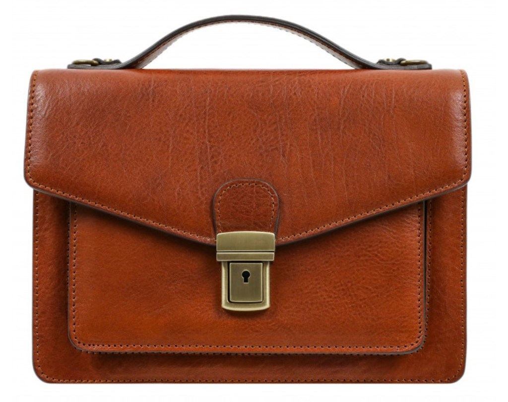 AMBER SMALL LEATHER BRIEFCASE – NINE STORIES