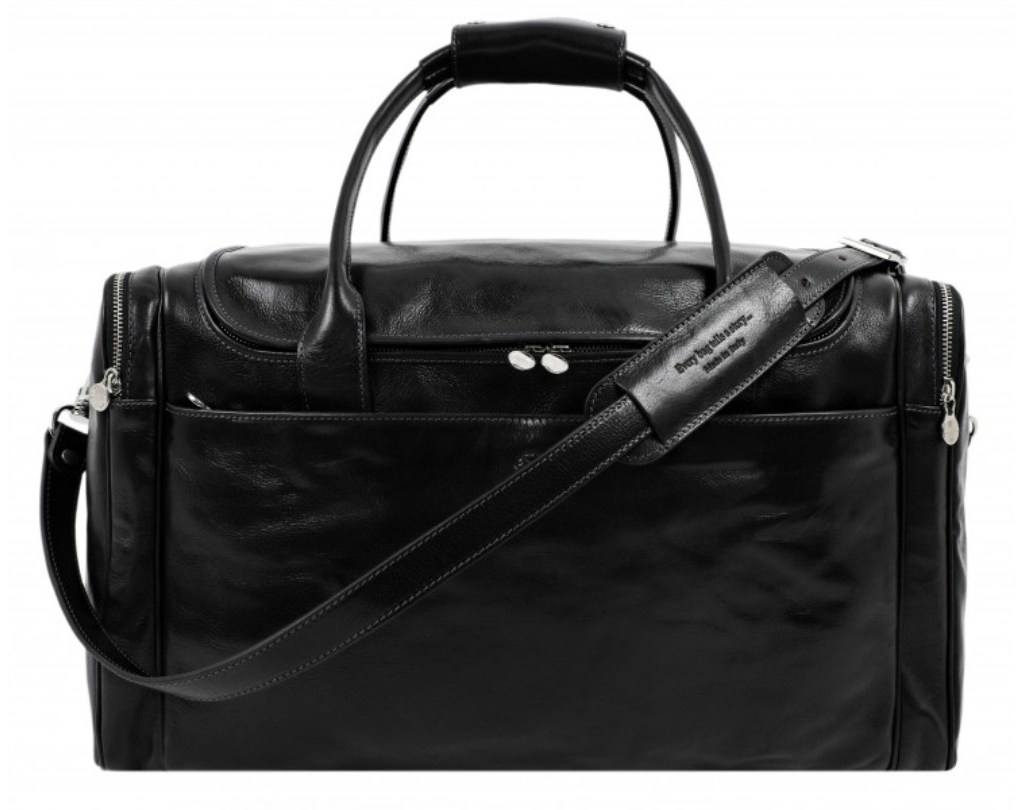 LARGE BLACK LEATHER DUFFEL BAG - THE HITCHHIKERS GUIDE TO THE GALAXY