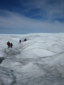"Traversing the start of the ""K-transect"" near Kangerlussuaq, Greenland in 2010."