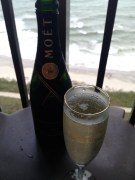 Enjoying some champagne on our balcony. First time I've ever had Moet. Needless to say, I'm a fan.