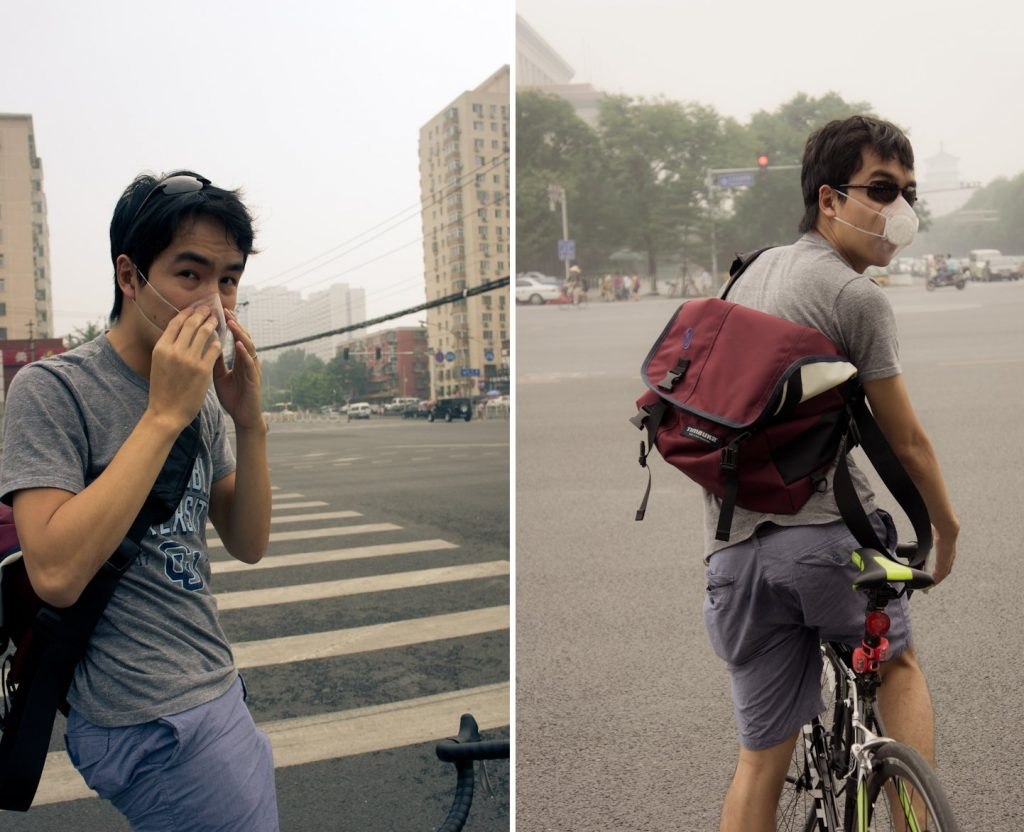 braving an AQI of 220, fixie rider explore Beijing with unhealthy particles in the air, including pollution and viruses. I can actually smell fresh air when I inhale. I can bike. I can walk outside to buy groceries.