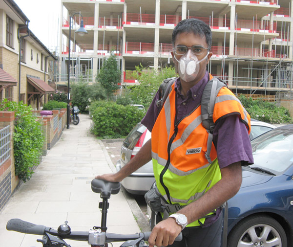 Doctor Anil Simhadri wear Totobobo mask to protect himself from air pollution